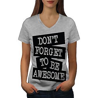Be Awesome Saying Fashion Women GreyV-Neck T-shirt | Wellcoda