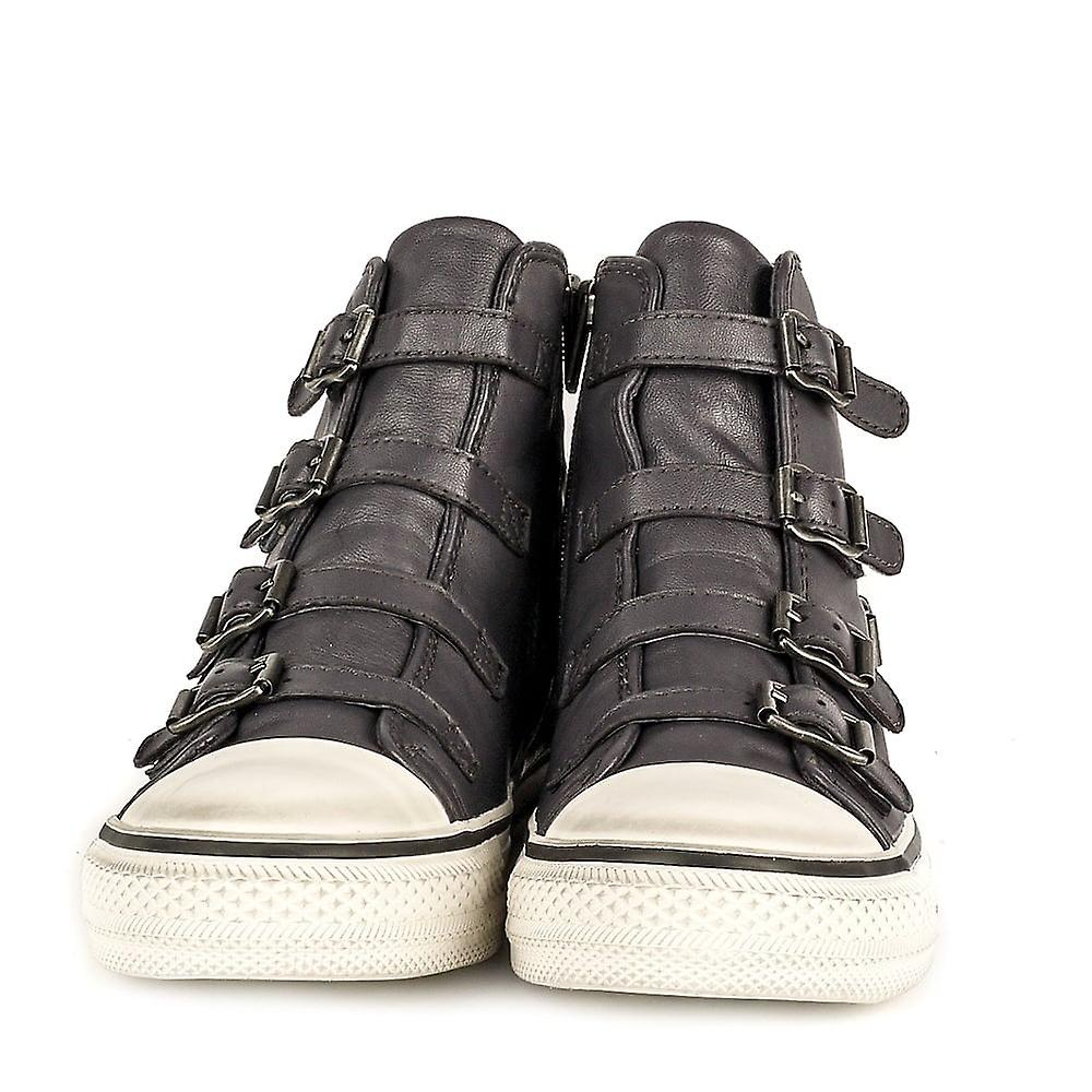Ash VIRGIN Buckle Trainers Graphite Leather
