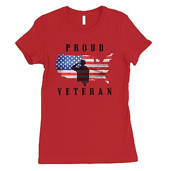 Proud Veteran Gift Womens Red T-Shirt American Army Gift