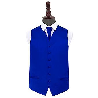 Royal blå almindelig Satin bryllup vest & Cravat sæt