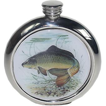 6Oz Round Pewter Carp Picture Flask