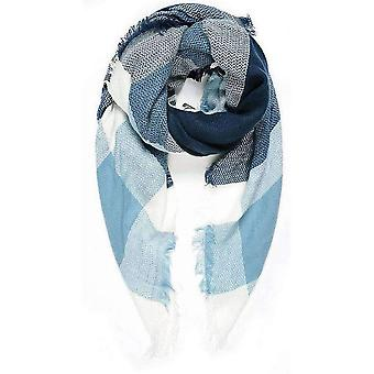 Intrigue Blanket Square Scarf - Navy/Blue/White