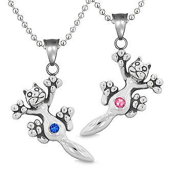 Amulette, die niedlichen Kätzchen Katze Liebespaare oder beste Freunde blau Set Rosa funkelnde Kristalle-Halsketten