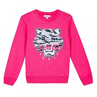 Kenzo juniorer flickor broderade Tiger Stripes Sweatshirt (Fuchsia)