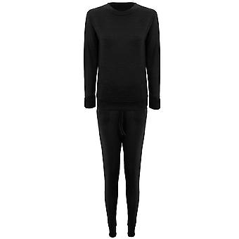 Ladies Plain Stretch Tracksuit Long Sleeve Lounge Wear 2 Piece Jogging Suit