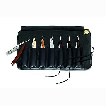 Black Baragnia leather roll with space for 7 razors Direct from France