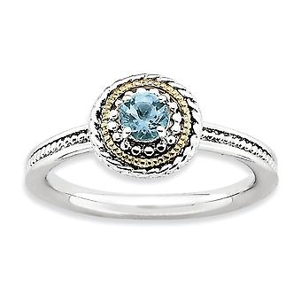 2.25mm 925 Sterling Silver Polished Prong set Rhodium-plated and 14k Stackable Expressions 925 Sterling Silver Blue Topa