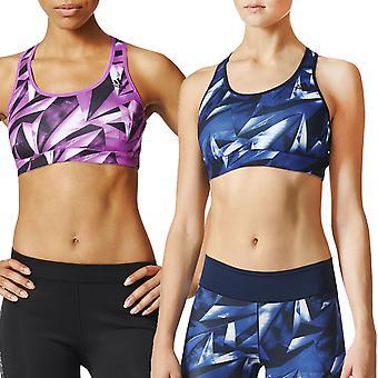 Adidas Performance Womens Workout Gym Racer tillbaka tryckt gröda Top sport-bh