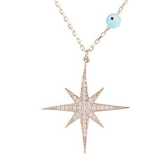 Latelita Star Burst Evil Eye Pendant Necklace CZ Sterling Silver Pink Rose Gold