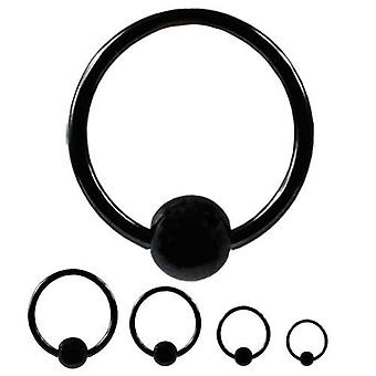 BCR Piercing Black, Ball Closure Ring, Body Jewellery, Thickness 1,2 mm | Diameter 6 - 12 mm