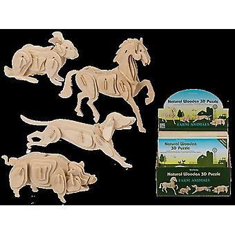 Houten 3D puzzel boerderijdieren 24x10cm