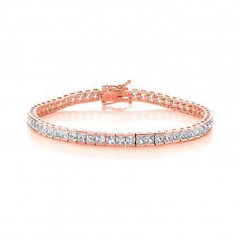 Cavendish Franse zilver, Rose goud en vierkante CZ Tennis Bracelet