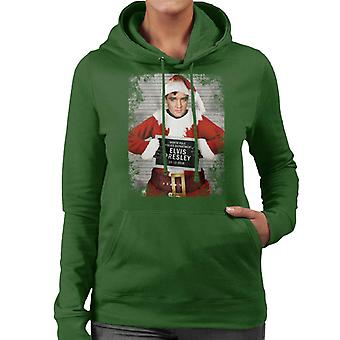 Christmas Mugshot Elvis Presley Women's Hooded Sweatshirt