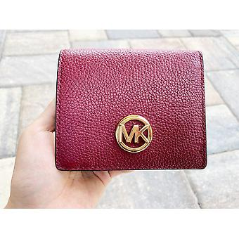 Michael Kors Fulton Carryall Card Case Wallet Mulberry Burgundy Leather