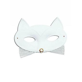 Cat Domino Eye Mask. White.