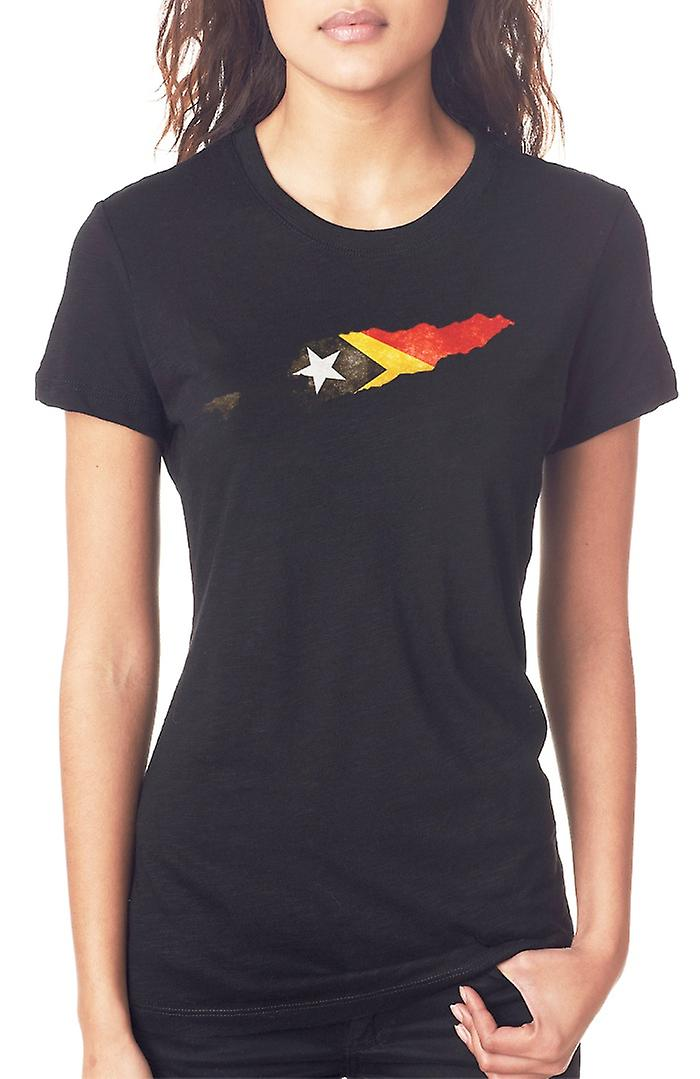 East Timor Flag Map Ladies T Shirt