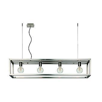 Lucide Oris industriële rechthoek metalen Satin Chrome Pendant Light