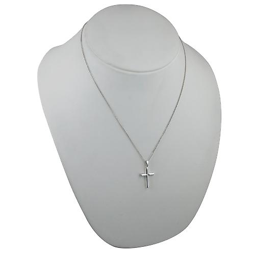 Silver 23x15mm plain round Cross-section Cross with a curb Chain 20 inches