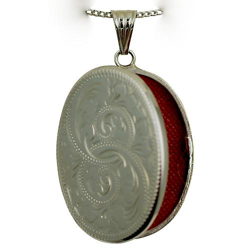 Silver 35x26mm hand engraved flat oval Locket with a curb Chain 22 inches