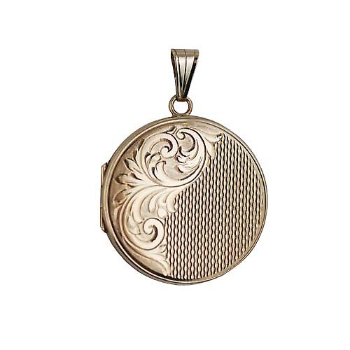 9ct Gold 29mm hand engraved and engine turned flat round Locket
