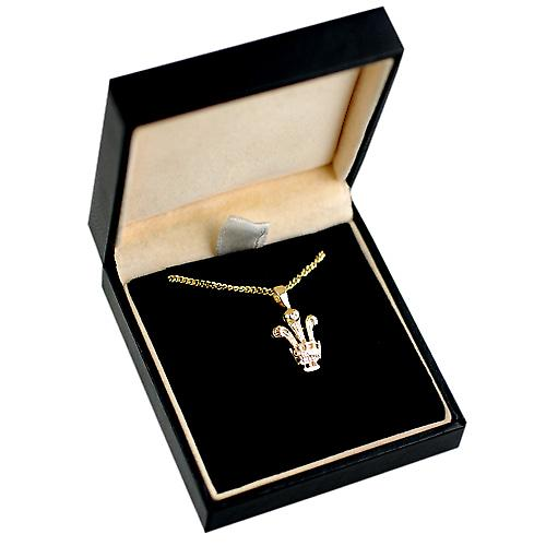 9ct Gold 16x12mm Prince of Wales Feathers Pendant with a curb Chain 16 inches Only Suitable for Children