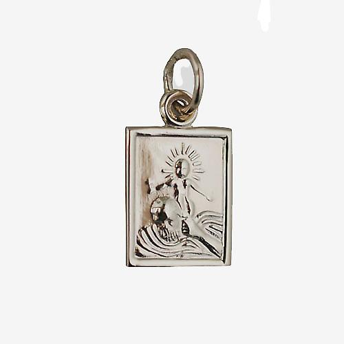 9ct Gold 12x10mm rectangular St Christopher Pendant or Charm