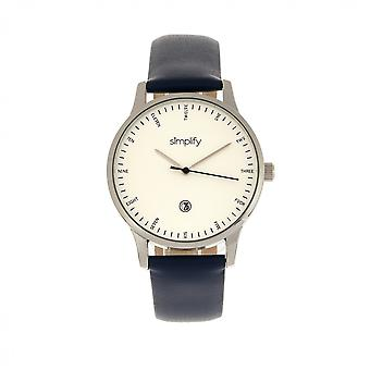 Simplify The 4300 Leather-Band Watch w/Date - Silver/Navy