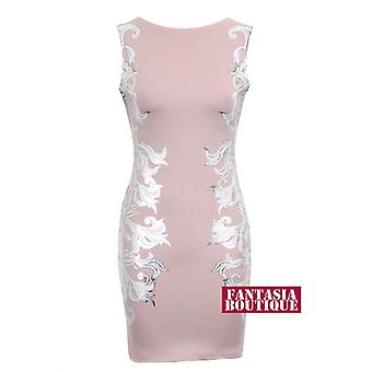 New Ladies Sleeveless Side Silver Foil Floral Women's Bodycon Dress
