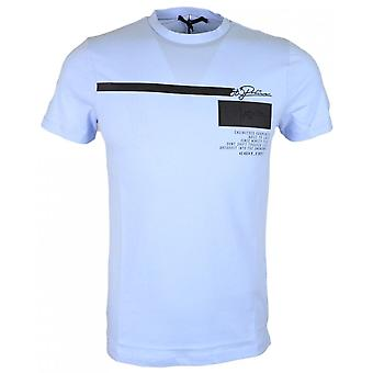 883 Police Palm Slim Fit Round Neck Sky Blue T-shirt