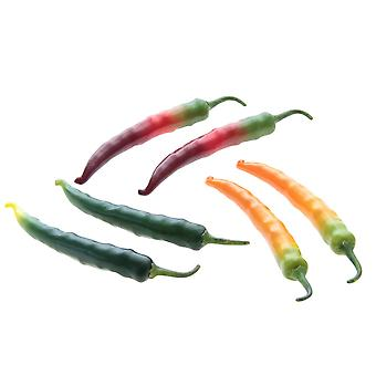 Set of 6 Artificial Peppers - Green Yellow Red, Real Touch and Look Acrylic Vegetables