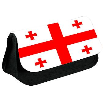 Georgia Flag Printed Design Pencil Case for Stationary/Cosmetic - 0064 (Black) by i-Tronixs