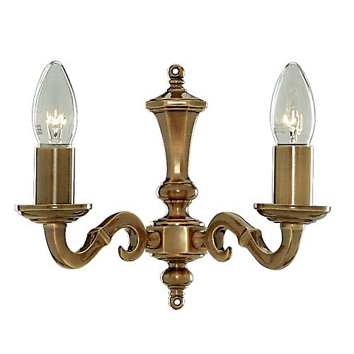 Searchlight 1072-2NG Malaga 2 Arm Traditional Antique Cast Brass Wall Light