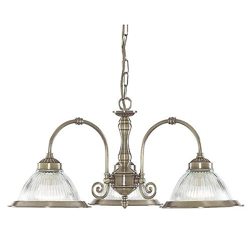 Searchlight 9343-3 American Diner Traditional 3 Arm Pendant With Clear Ribbed Glass