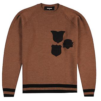 Dsquared2 Badge Knitted Sweater Brown