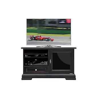 Porte TV noire avec portes en verre laqué noir
