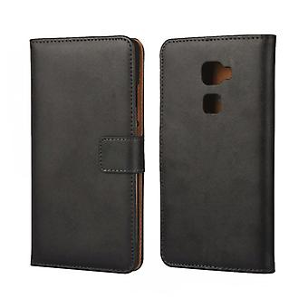 Wallet cover Huawei Mate S, genuine leather, black