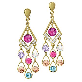 Eternal Collection Arabian Nights Multi Colour Crystal Gold Tone Drop Clip On Earrings
