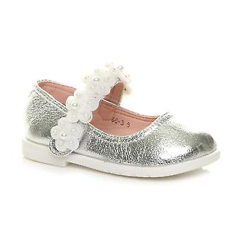 Ajvani girls flat flower mary jane strap bridesmaid party ballerina shoes
