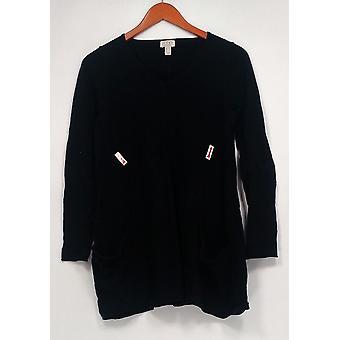 LOGO by Lori Goldstein Women's Sweater V Neck Sweater Black A237516