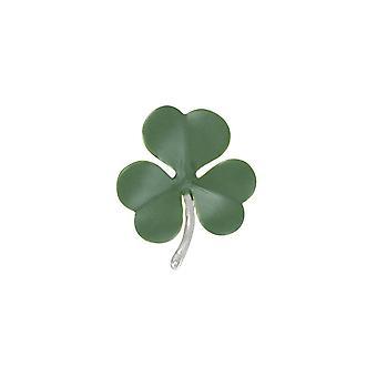 Eternal Collection Shamrock Green Enamel Silver Tone Flower Brooch