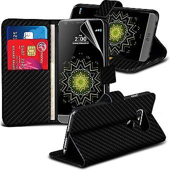 i-Tronixs LG G5 in fibra di carbonio portafoglio PU cuoio Classic Custodia Flip-nero carbonio