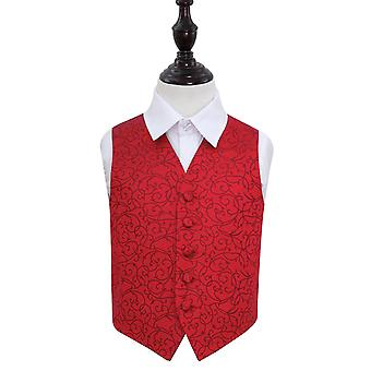 Boy's Burgundy Swirl Patterned Wedding Waistcoat