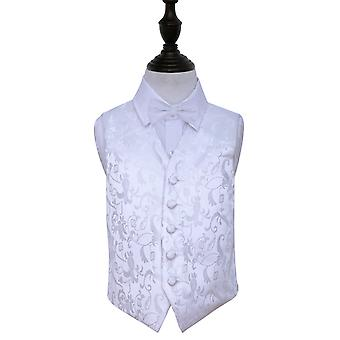 Boy's White Passion Floral Patterned Wedding Waistcoat & Bow Tie Set