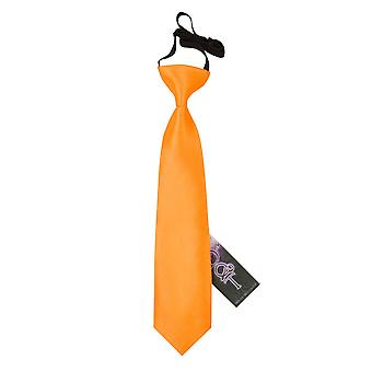 Boy's Plain Fluorescent Orange Satin Pre-Tied Tie (2-7 years)