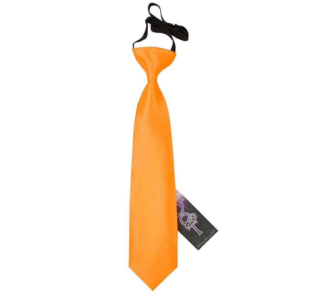 Boy's Fluorescent Orange Plain Satin Pre-Tied Tie (2-7 years)