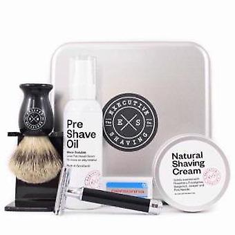 Executive Shaving Noir Safety Razor & Brush Gift Set