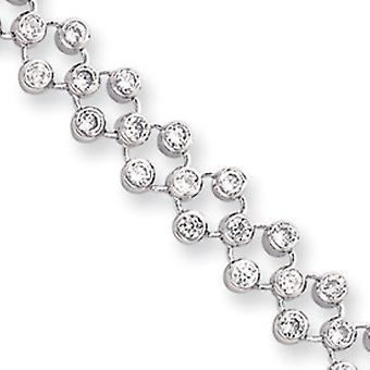 8.25in Rhodium-plated Three Row CZ Circle Bracelet - Length: 7.25 to 8.25