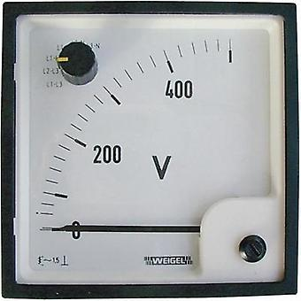 Weigel EQ 72 SWT 0 - 500 V/AC Control panel-moving armature ammeter with change over switch 0 - 500 Vac Assembly dimensi