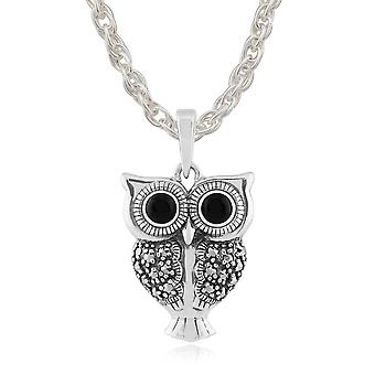 Sterling Silver 0.30ct Black Onyx & Marcasite Owl Pendant