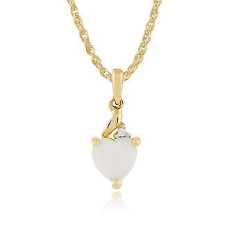 Gemondo 9ct Yellow Gold 0.30ct Opal & Diamond Heart Pendant on Chain